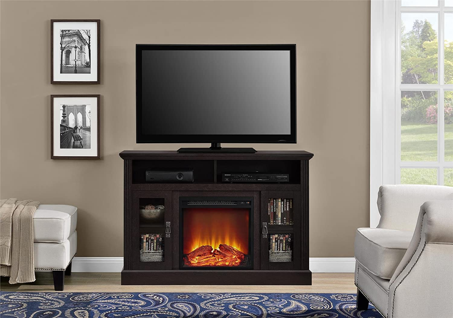 Amazon.com: Ameriwood Home Chicago Fireplace TV Console for TVs up ...