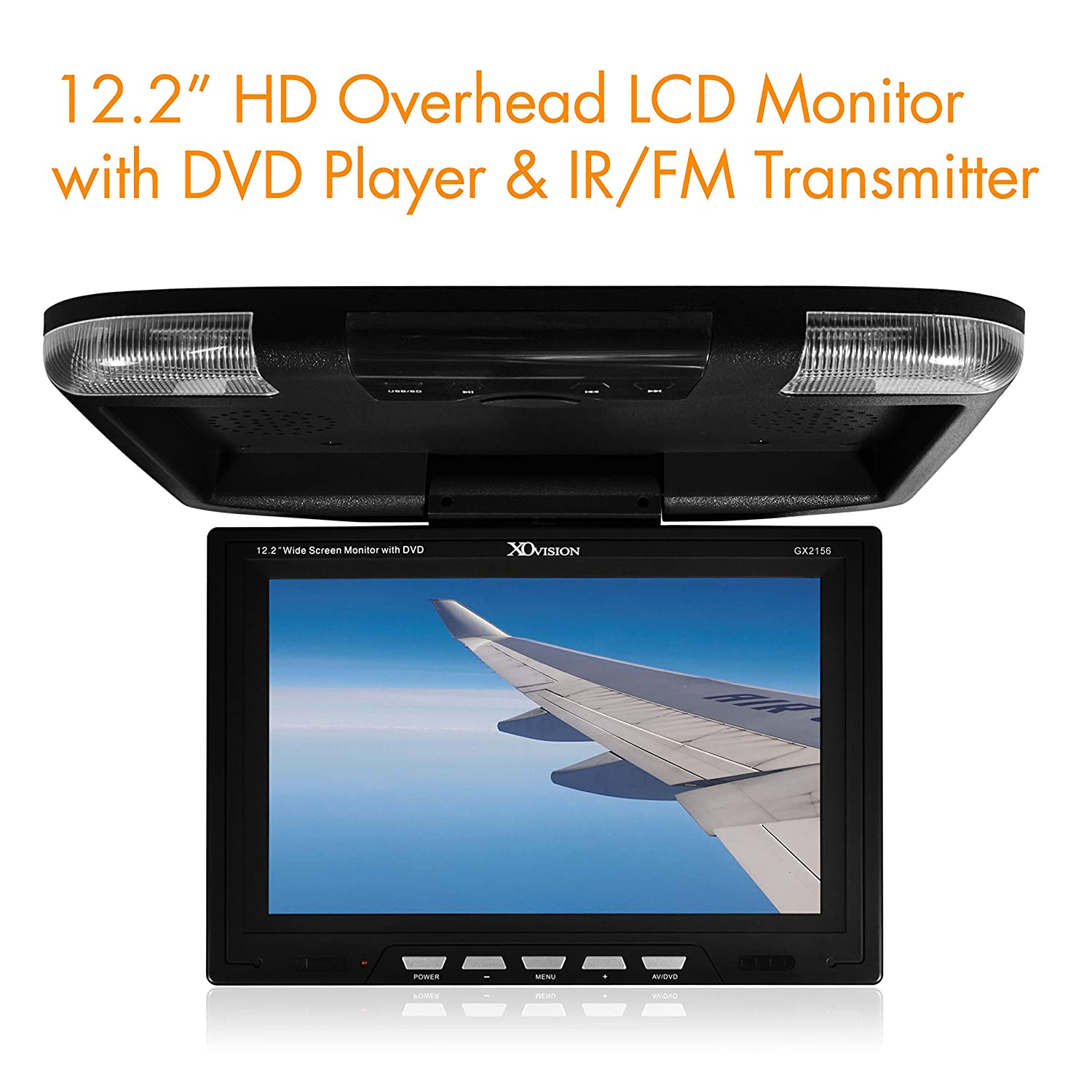 amazon com xo vision gx2156b 12 2 inch wide screen overhead amazon com xo vision gx2156b 12 2 inch wide screen overhead monitor built in dvd player and hdmi input black car electronics