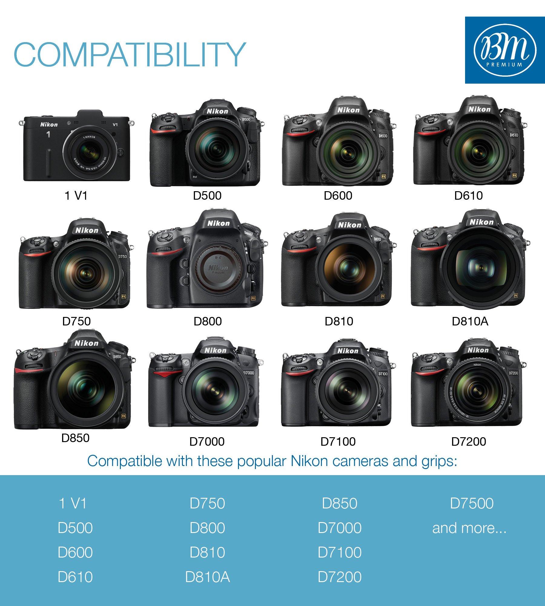 BM Premium EN-EL15 Battery for Nikon D850, D7500, 1 V1, D500, D600, D610, D750, D800, D800E, D810, D810A, D7000, D7100, D7200 Digital SLR Camera by BM Premium (Image #5)
