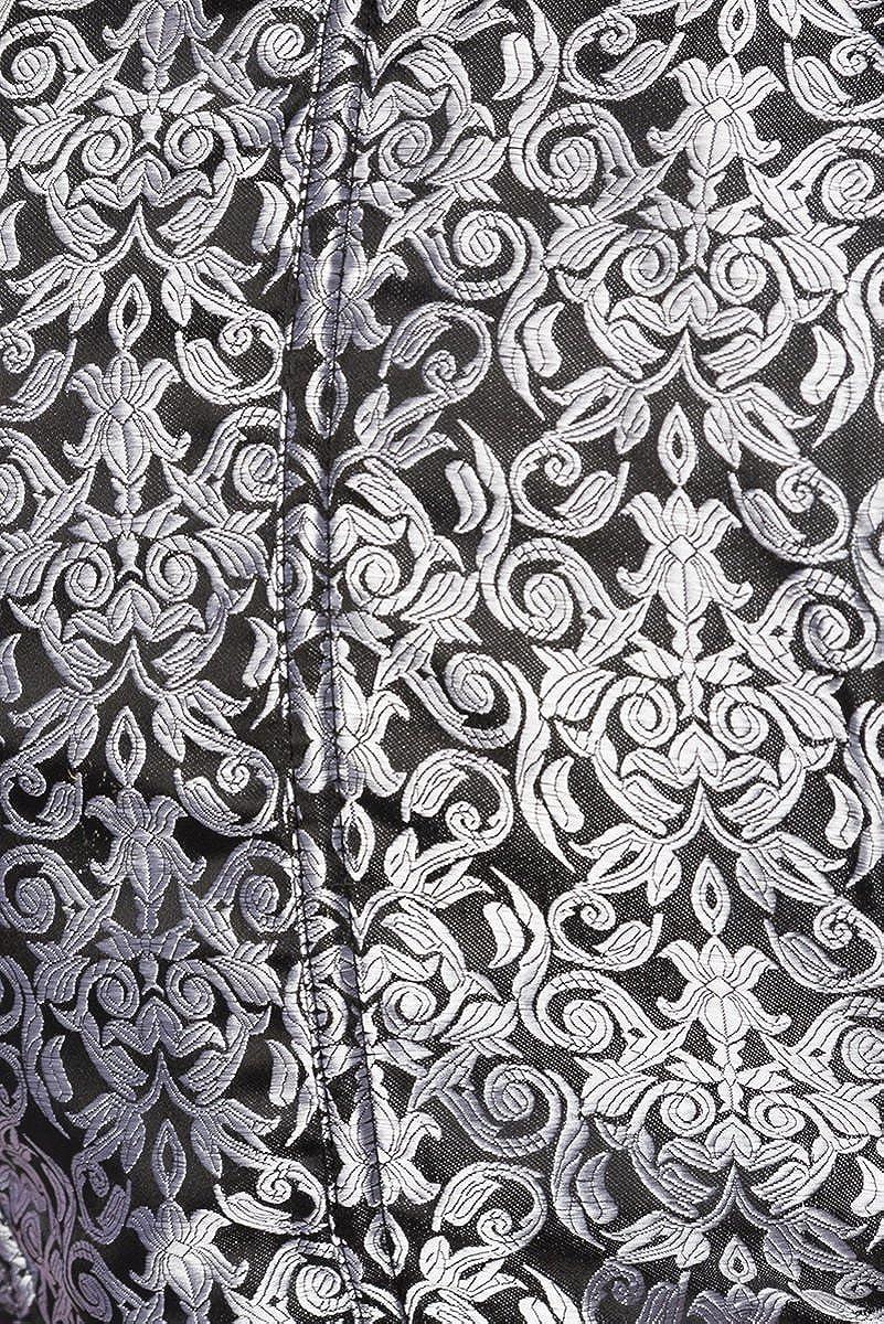 Unbekannt Dirndl Kleid Kost/üm mit Bluse und Sch/ürze aus Jacquard Stoff und Spitze Spitzenstoff Oktoberfest Dirndl Silber//wei/ß//schwarz Oberteil dunkel