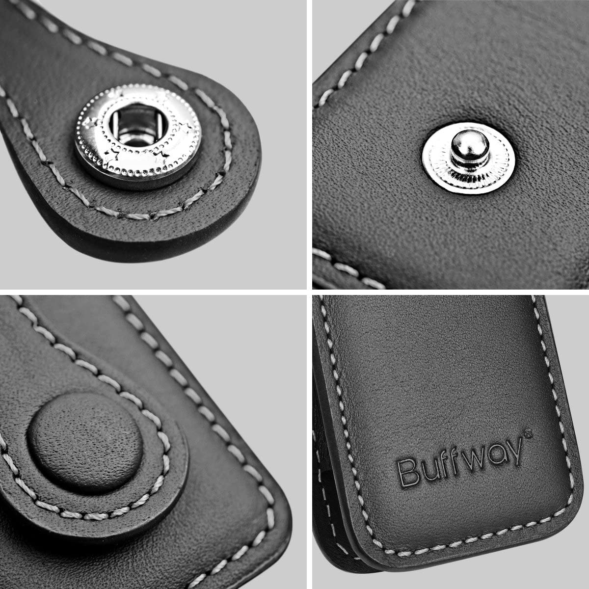 Grey Line Buffway Key Chain Case Cover Holder Shell for Porsche Cayenne Panamera Macan Key Fob with Luxury Genuine Leather