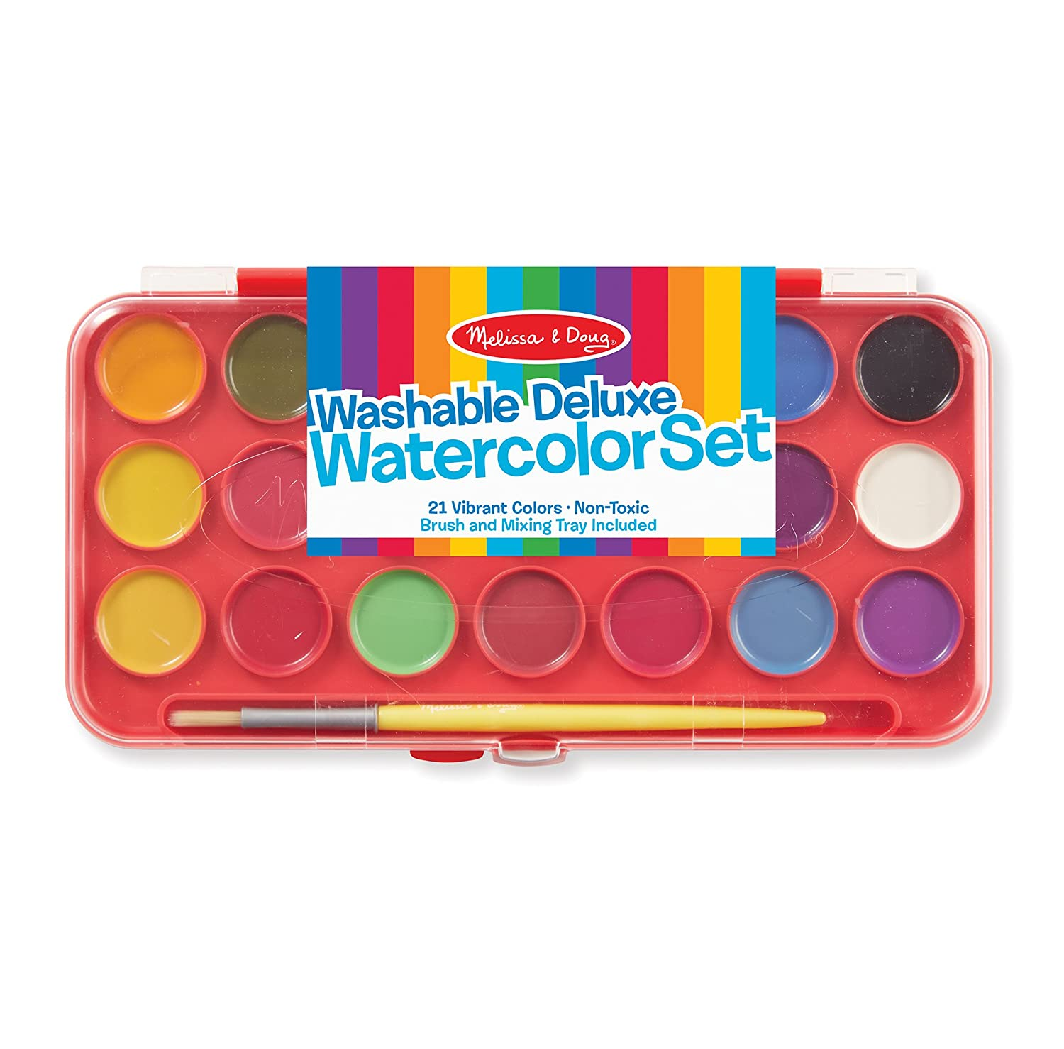 Melissa & Doug Deluxe Watercolor Paint Set With 21 Paints and Paintbrush 4120
