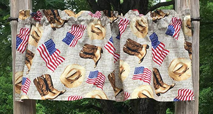 USA Western Cowboy Cowgirl Flag Boots Hat Custom Sewn Handcrafted Valance NEW