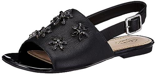 307c83898f40 Clarks Women s Polenta Sugar Black Leather Fashion Sandals - 3.5 UK India  (36 EU