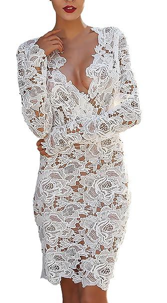 Vestidos De Fiesta Mujer Elegante Primavera Encaje Manga Larga Bastante V Cuello Nightclub Vestido Cortas Hollow Transparentes Classic Fashionista Coctel ...