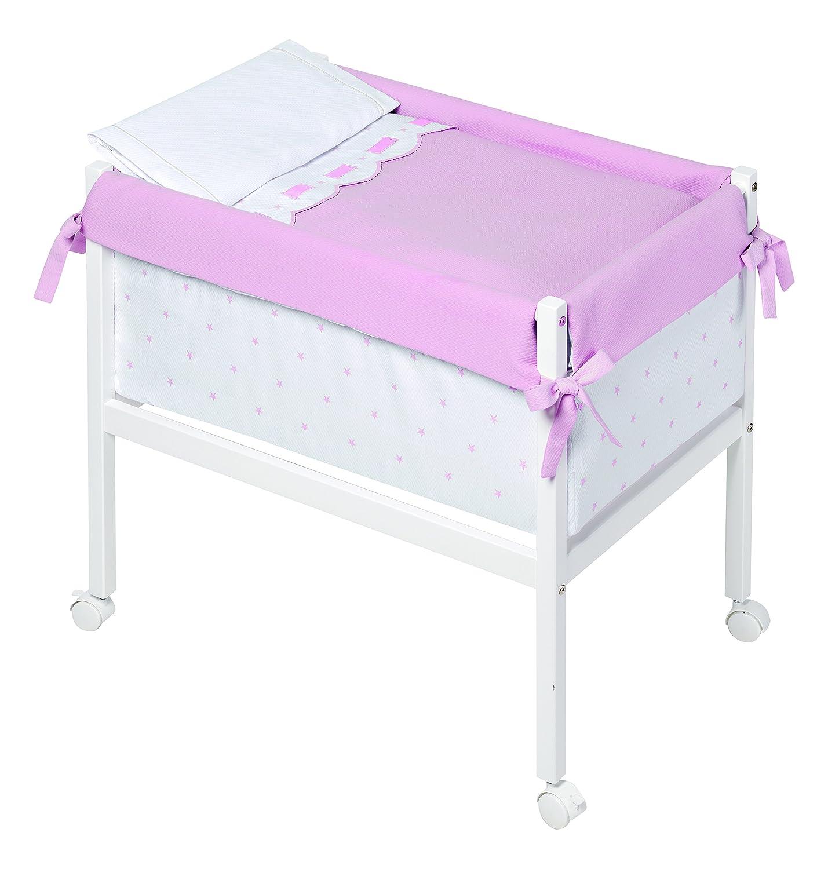 Kinder Class–minicuna, 61x 90x 80cm, Farbe: weiß/pink