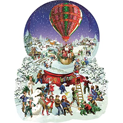 Old Fashioned Snow Globe Merry Christmas Shaped 1000 pc Jigsaw Puzzle by SunsOut: Toys & Games