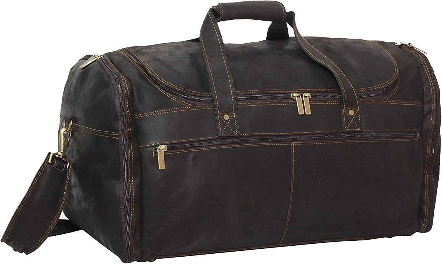 One Size David King /& Co Extra Large Multi Pocket Duffel Distressed Brown