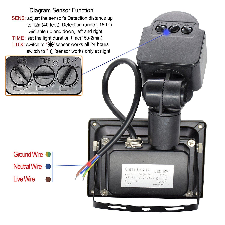 Led Motion Sensor Flood Light Outdoor 10w 800lm Pir Sensitive Detection Wiring Diagram Security Lights Wall Fixture Lamps Waterproof