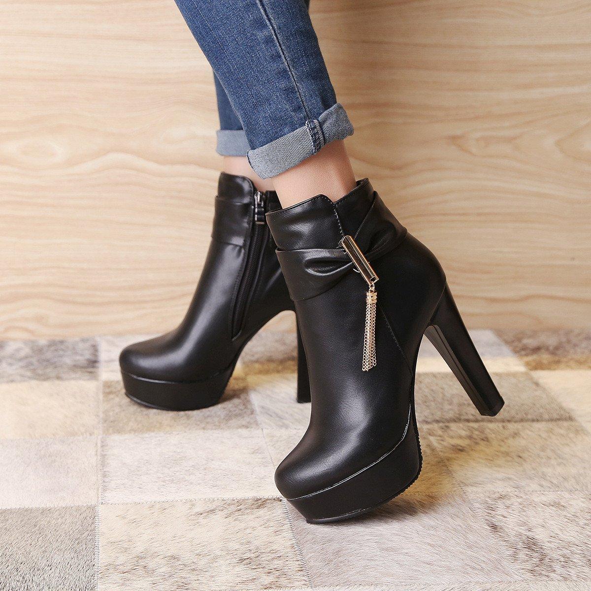ZQ@QX Herbst und Winter und runden Kopf bold und Winter stilvolle Seite reißverschluss Stiefel Schuhe mit hohen Absätzen, Stiefel weibliche Stiefel  schwarz 85ec3e