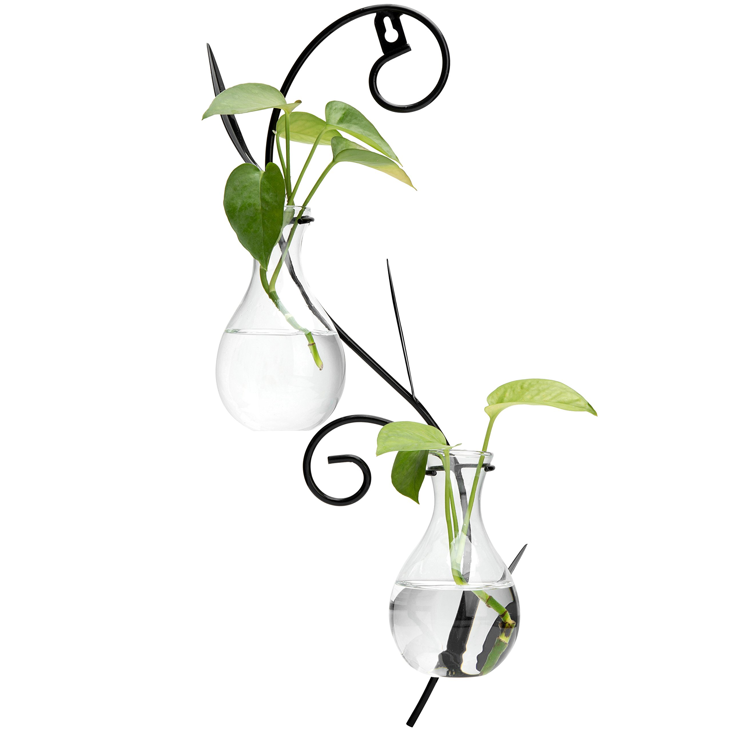 MyGift Decorative Wall-Mounted Scrollwork Metal Sconce with 2 Flower Glass Bulb Vases by MyGift