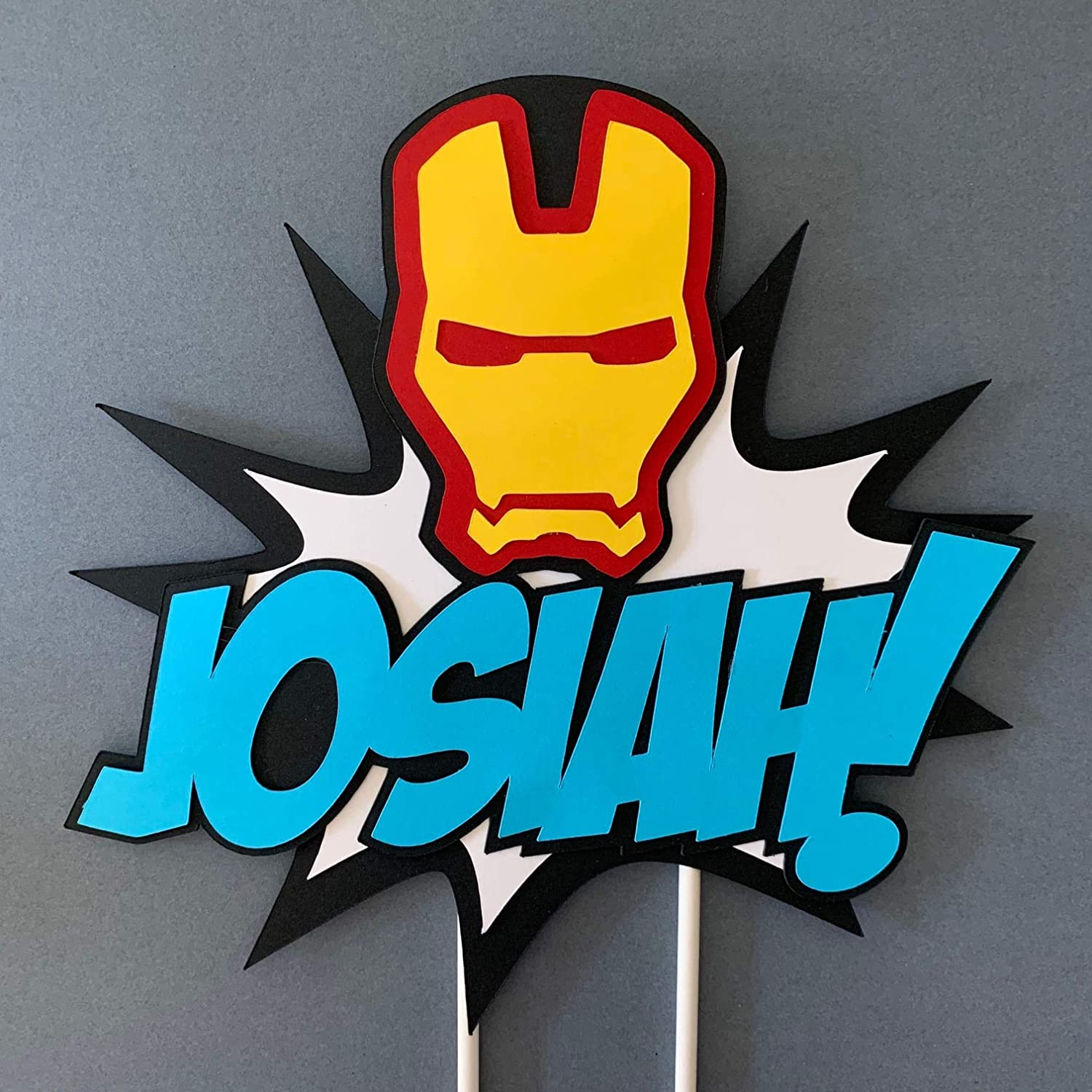 Prime Amazon Com Ironman Inspired Custom Name Cake Topper Ironman Birthday Cards Printable Trancafe Filternl