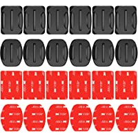 Neewer 24 Pieces Helmet Adhesive Pads Sticker - 12 Curved and 12 Flat Mounts for GoPro Hero 7 6 5 4 3+ 3 2 SJ4000 5000 6000 DBPOWER AKASO VicTsing APEMAN Rollei Lightdow and Sony Sports DV and More