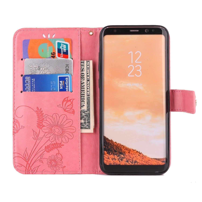 Funda Samsung Galaxy S7 Edge,Carcasa Galaxy S7 Edge P/úrpura PU,Flor Mariposa 3D Diamante Patr/ón Bling Glitter Brillante Flip Wallet Case Stand Magn/ético Ranura para Tarjeta