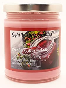 Gyhi Luxury Candles Cranberry Marmalade 8 OZ Candle Glass Jar with Metal Lid   Handmade in USA with Premium Soy Wax and Beeswax Blend   Great for Gifts, Holidays, Businesses, Aromatherapy.