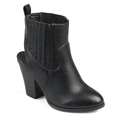 508dbee33 Journee Collection Womens Slingback Western Stacked Wood Heel Booties  Black, 7.5 Regular US
