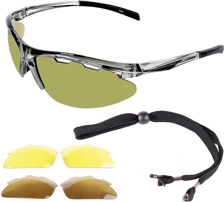 906a15128e Fore LUNETTES DE SOLEIL GOLF avec interchangeables. Pour hommes et femmes.  Une protection anti reflet UV 400