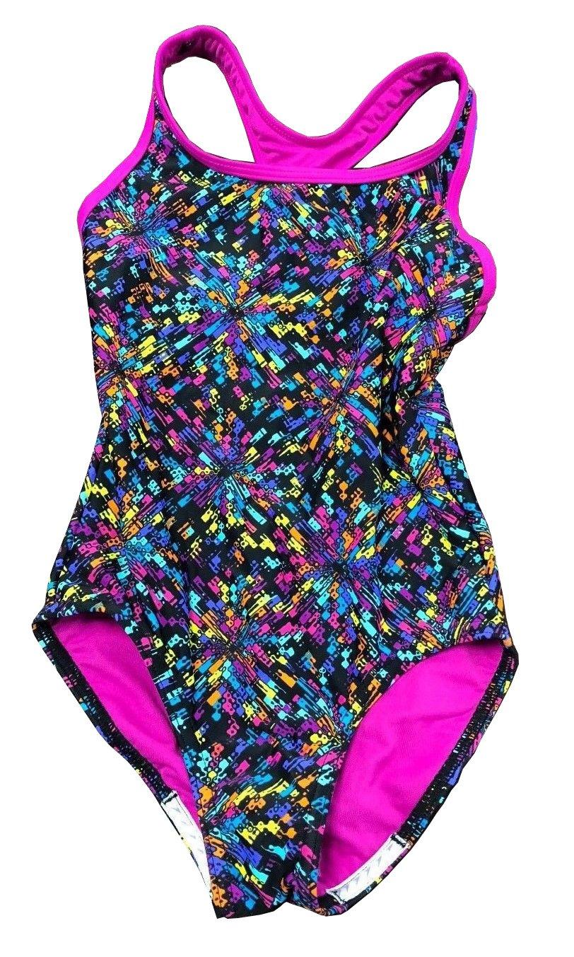 Speedo Big Girls' Youth Solid Splice Cross-Back One-Piece Swimsuit (Multicolor, 16)