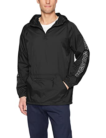 25ee13535aa4 Amazon.com  Obey Men s Worldwide Outline Hooded Nylon Anorak Jacket   Clothing