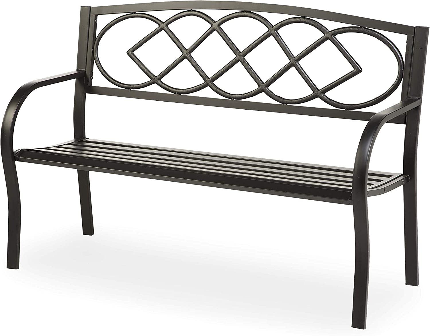 Plow & Hearth Celtic Knot Patio Garden Bench Park Yard Outdoor Furniture, Cast and Tubular Iron Metal, Powder Coat Black Finish, Classic Decorative Design, Easy Assembly 50 L x 17 1/2 W x 34 1/2 H