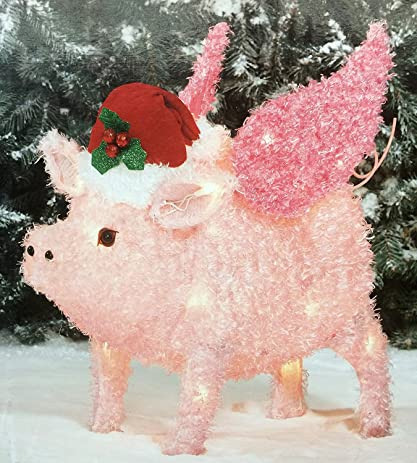 flying pig yard dcor light up pig christmas decoration by holiday time 2
