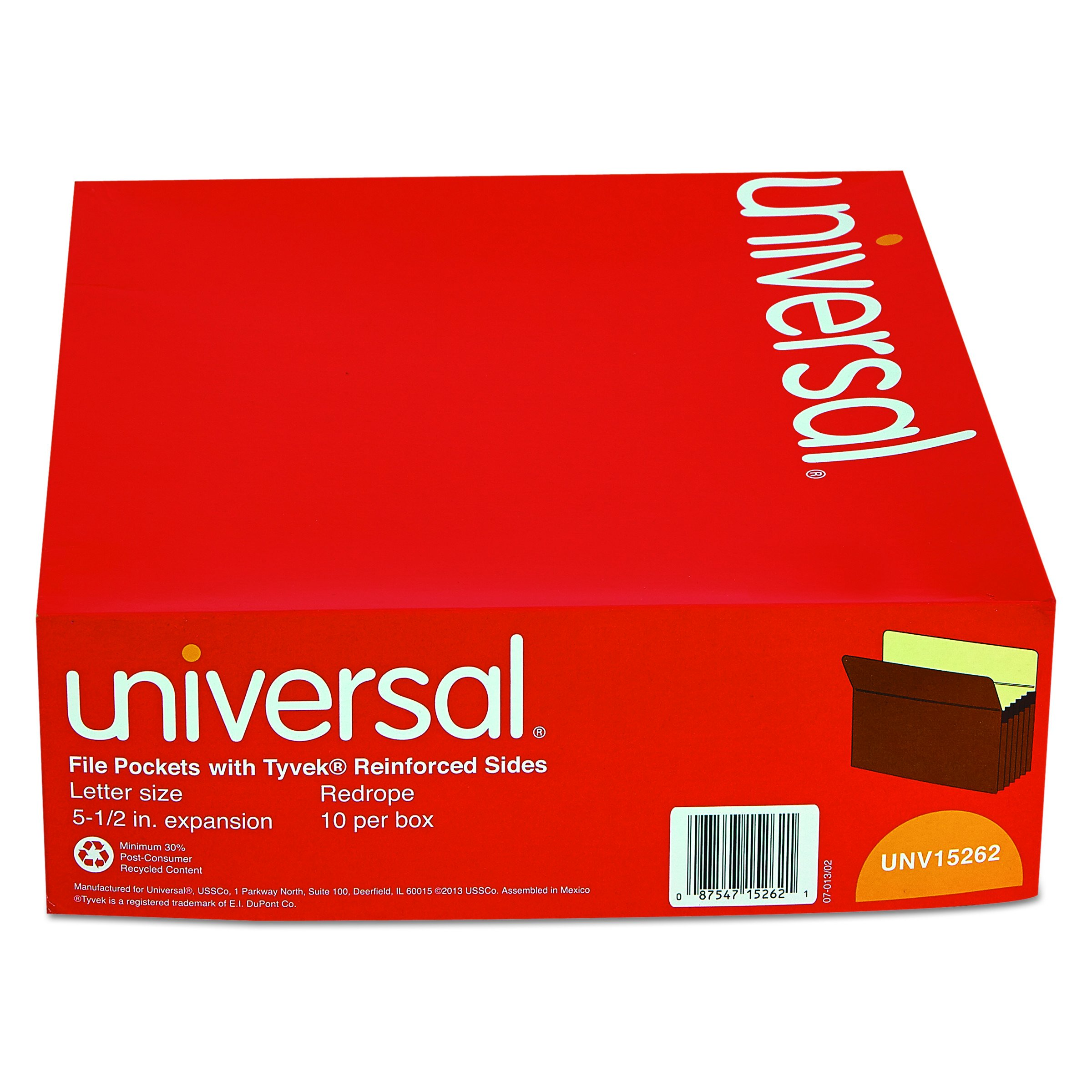Universal 15262 5 1/4 Inch Expansion File Pockets, Straight Tab, Letter, Redrope/Manila (Box of 10) by Universal