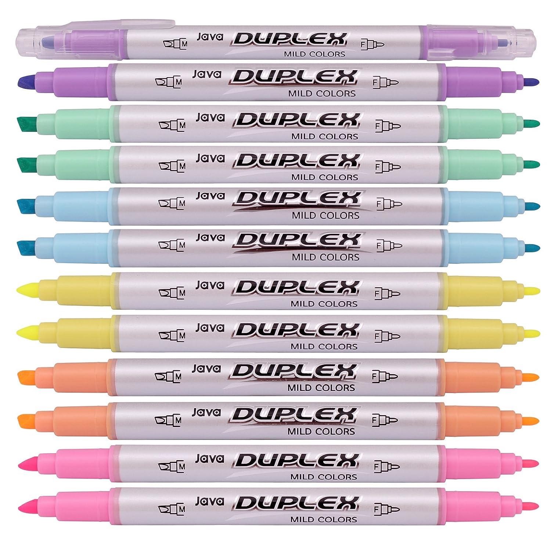 Amazon Java Duplex Mild Liner Soft Pastel Color Highlighter Pen Marker 6 Pack Of 12
