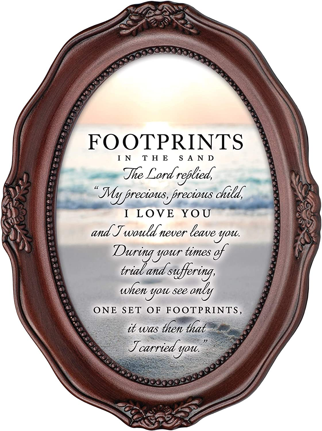Cottage Garden Footprints in The Sand Mahogany Finish Wavy 5 x 7 Oval Table and Wall Photo Frame
