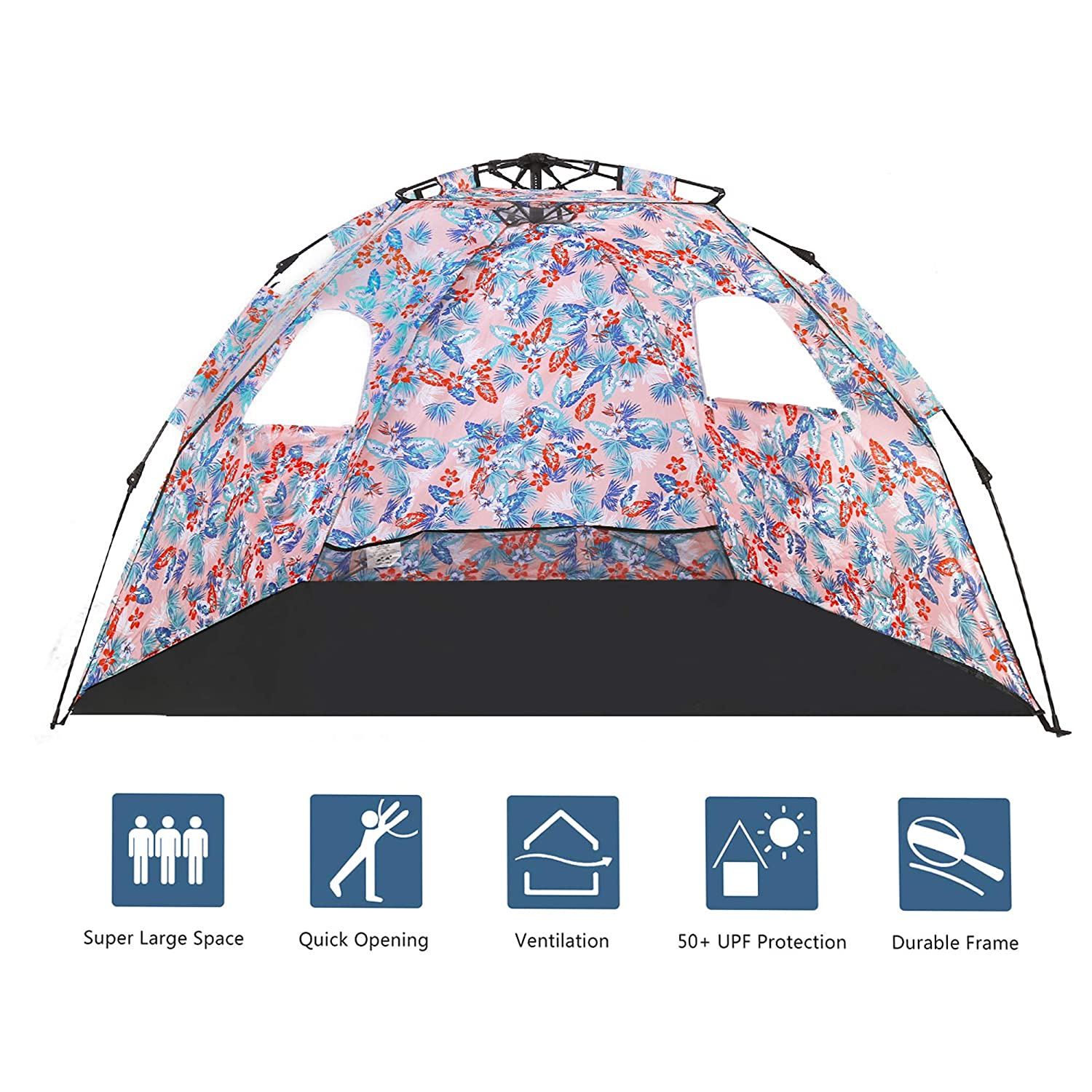 MallBoo Pop Up Beach Tent Sun Shelter,Protable 3-4 Person Sun Shade with Easy Setup and Sun Protection for Kids,Family
