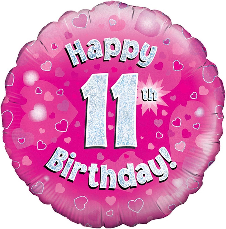 Amazon.com: Oaktree 18 inch 11th Cumpleaños Rosa globo ...