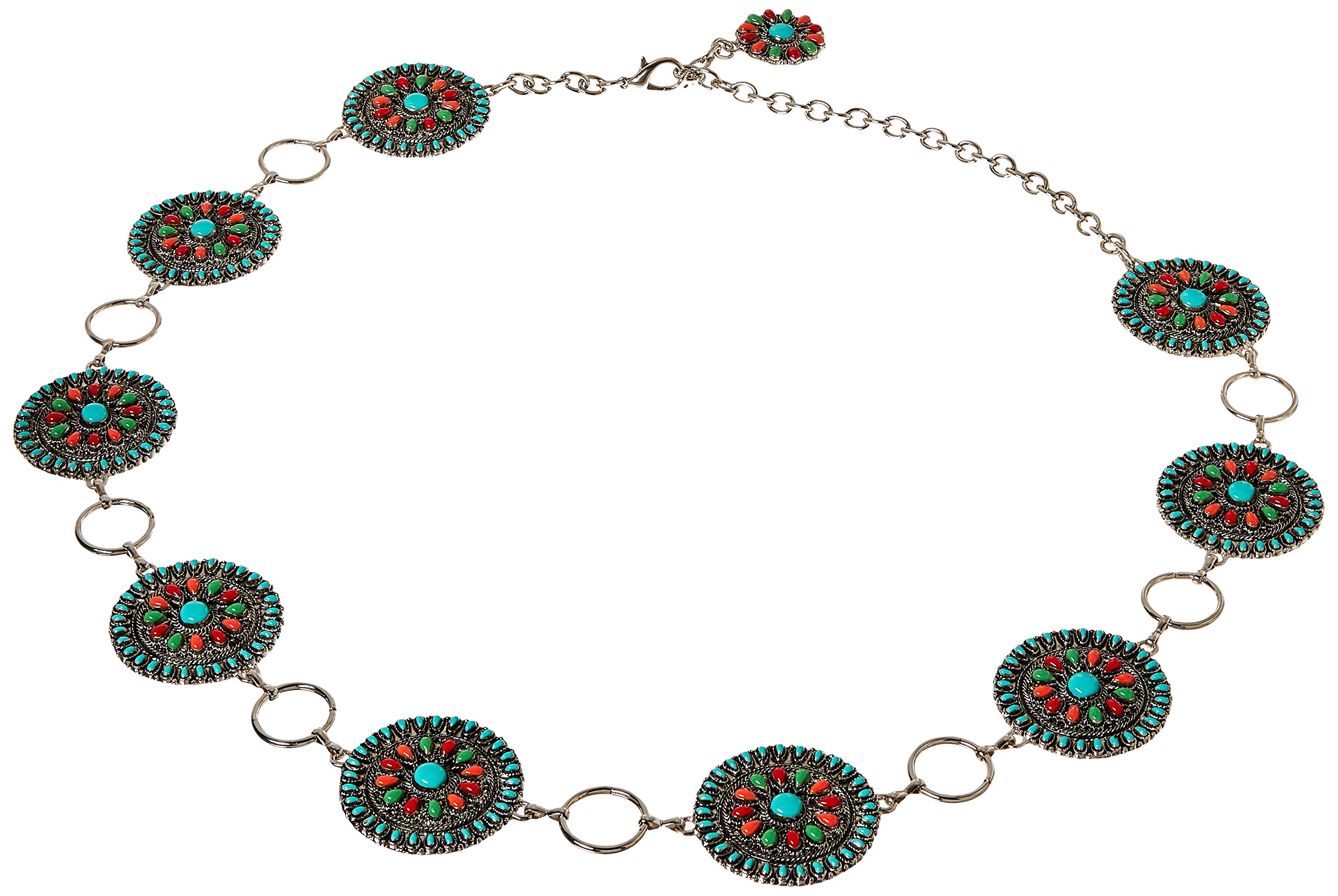 Nocona Belt Co. Women's Multi-Color Concho Link Belt, silver, Large