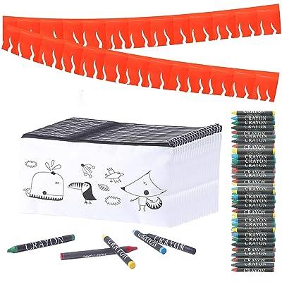Partituki 30 Estuches Infantiles para Colorear, 30 Sets de 5 Ceras de Colores y una Guirnalda Roja de 20 m. Detalle Ideal para Regalos de Fiestas de Cumpleaños Infantiles: Oficina y papelería