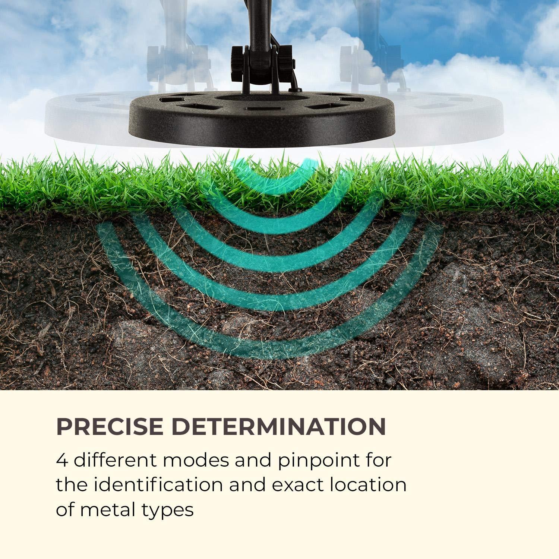 Negro Waldbeck Yukon Detector de Metales 4 Modos, di/ámetro de Bobina de 20,5 cm, n/úmeros de identificaci/ón en 6 categor/ías, funci/ón Pinpoint, escalonamiento en 4 Niveles localizador de Metales