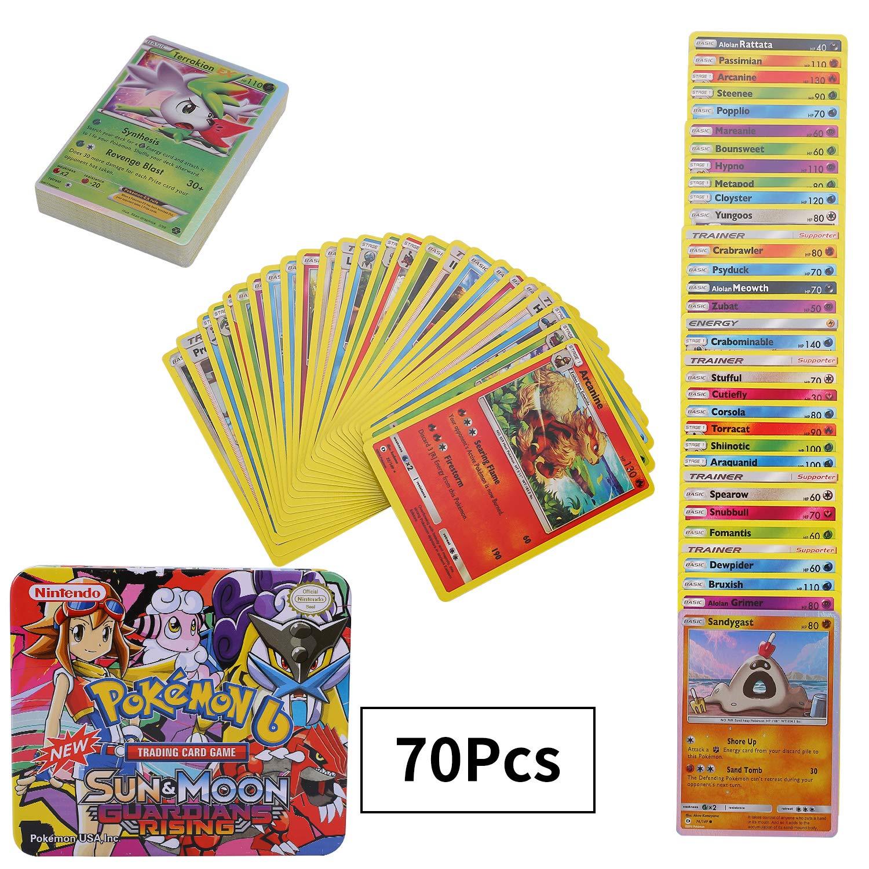 70 Pezzi Pokemon Carte Pokemon Carta Collezionabile GX EX Gioco di Carte Sun /& Moon Series Guardians Rising