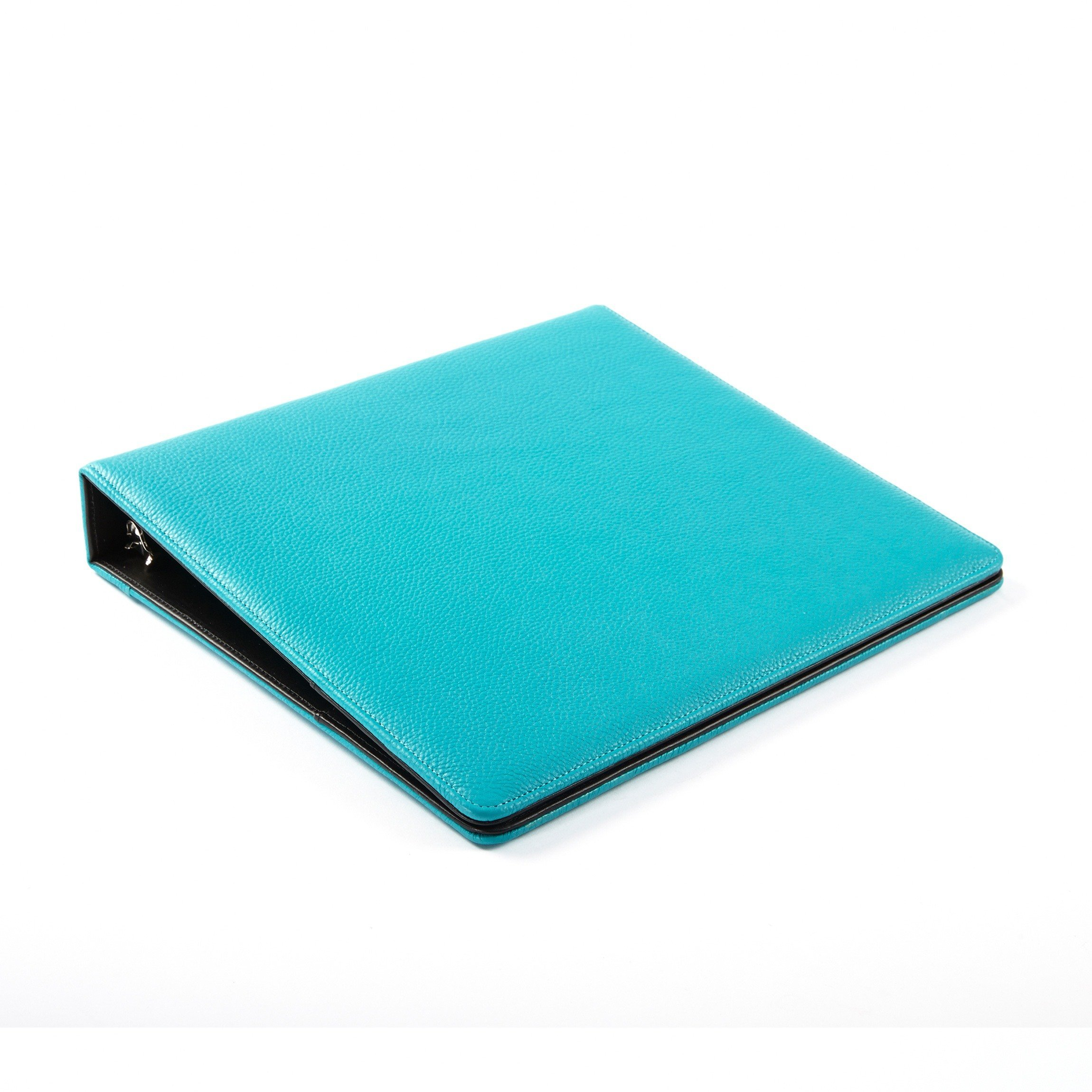 Leatherology Deluxe 3-Ring Presentation Binder with Interior Pockets - Full Grain Leather - Teal (blue)
