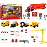 Kiddie Play Construction Vehicles Machine Toy Set with Street Play Mat, Great Birthday Party Cake Topper