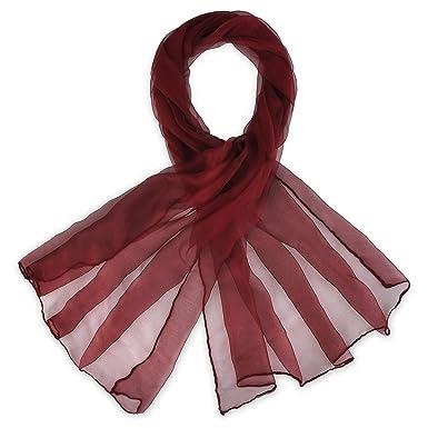 819e01b7fc5 Foulard mousseline soie Bordeaux uni  Amazon.fr  Vêtements et ...