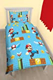 Nintendo Mario 'Maker' Parure de lit simple – Motif imprimé Repeat