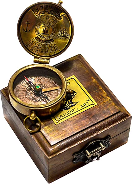 Ideas for Men//Vintage Shinny Brass Sundial Compass with Wooden Box for Camping,