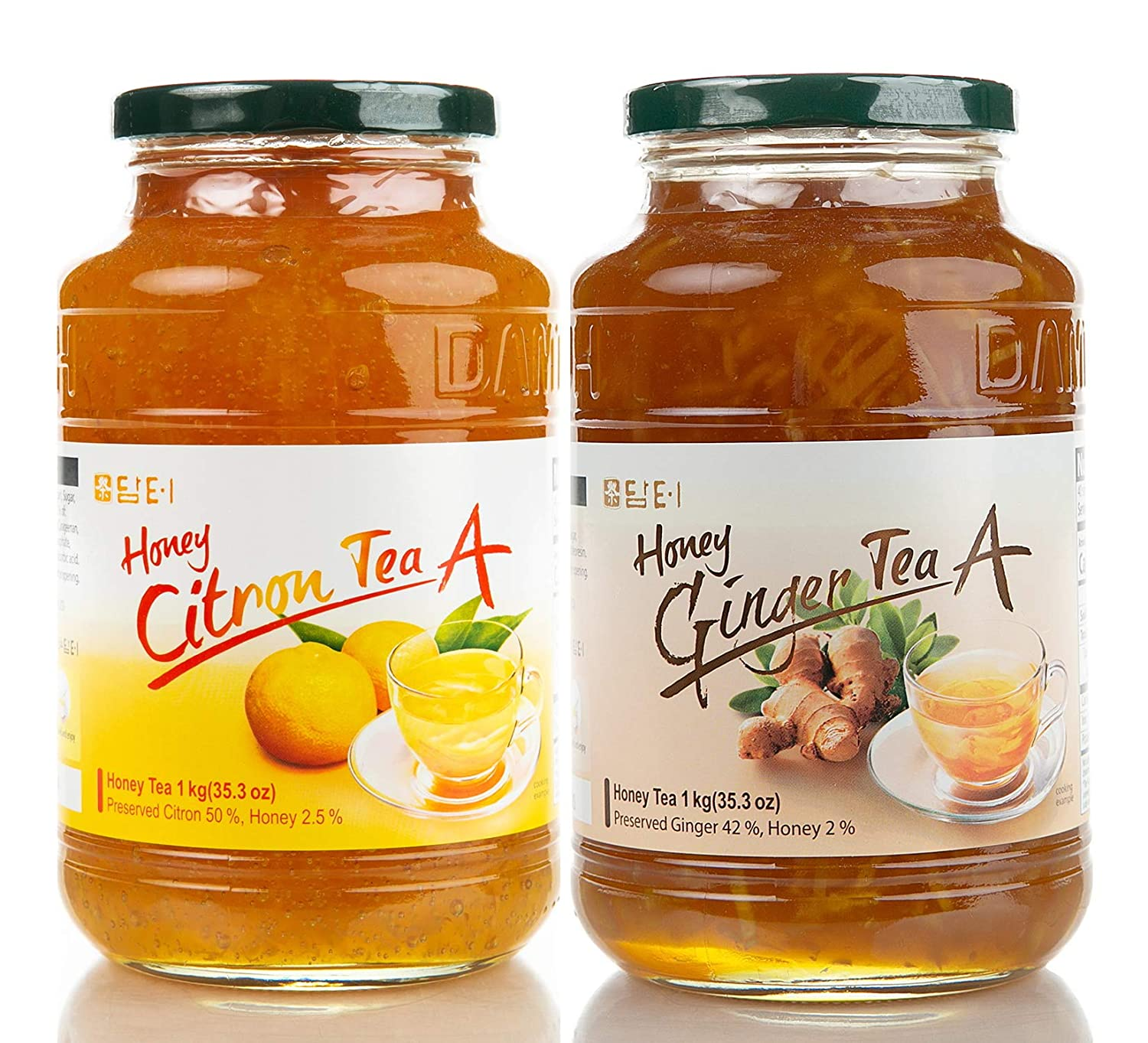 DAMTUH Korean Honey Tea A, Citron Tea with Honey + Ginger Tea with Honey 35 OZ, (1Kg) x 2 Bottles