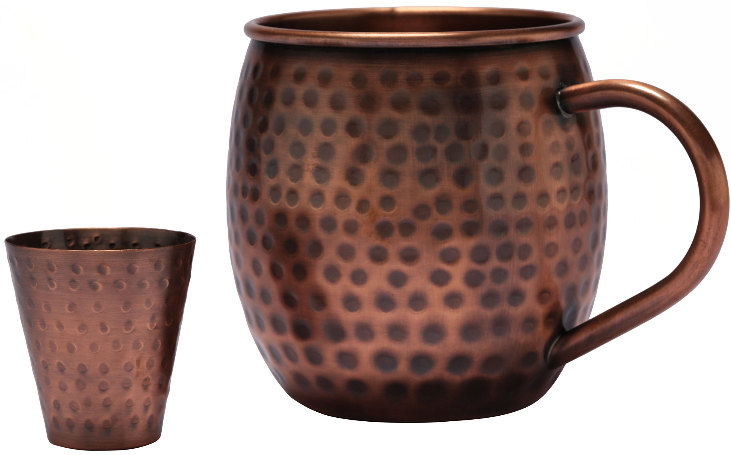 Melange 24 Oz Antique Finish Copper Barrel Mug for Moscow Mules, Set of 24 with Six Shot Glasses - 100% Pure Hammered Copper - Heavy Gauge - No Lining - Includes Free Recipe Card