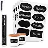 96 Premium Chalkboard Labels Bulk - Free Erasable Chalk Pen - Dishwasher Safe Chalk Board Mason Jar Labels - Removable…