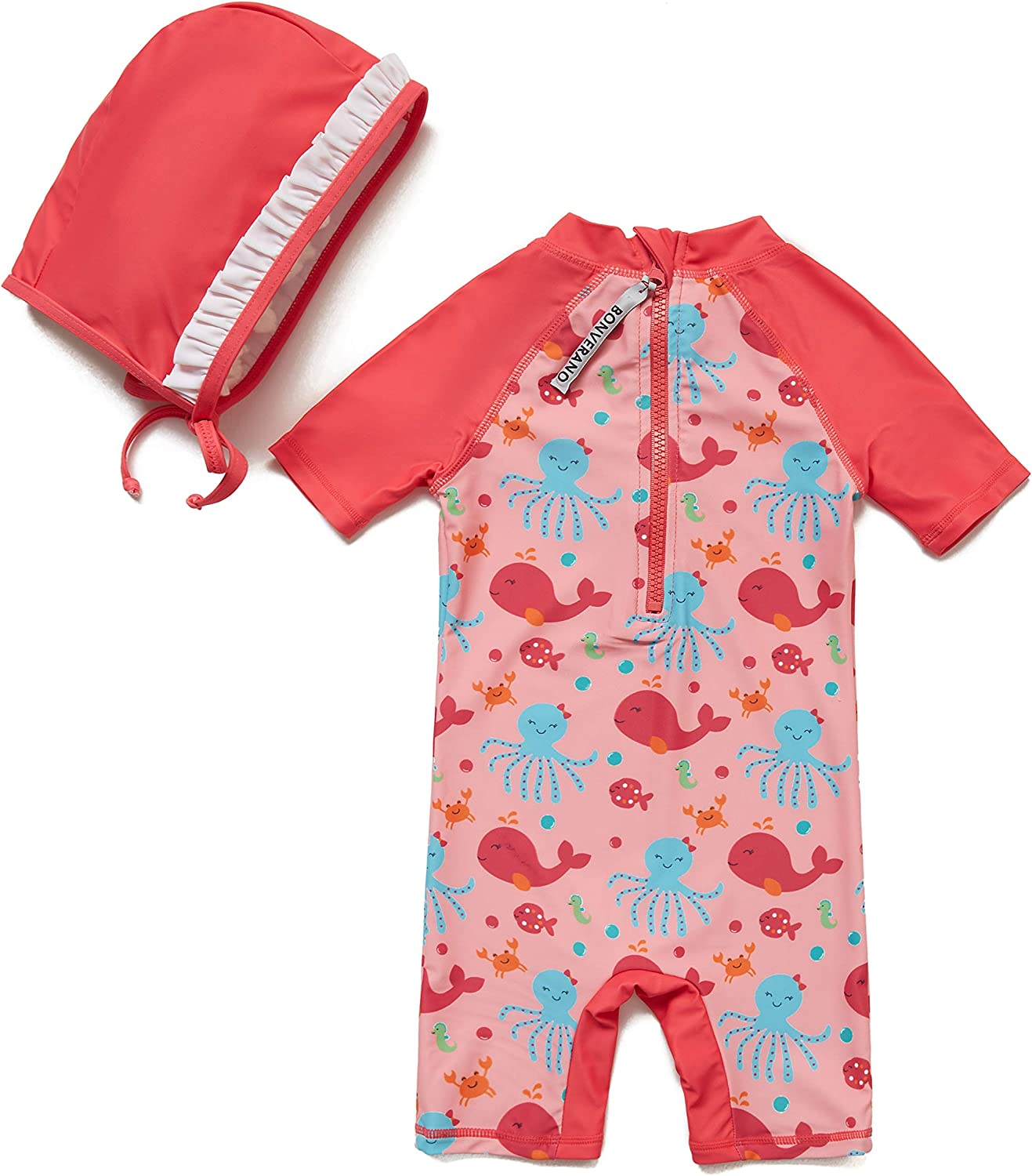 Bonverano Baby Girls Sunsuit UPF 50 Watermelon Red, 24-36Months Sun Protection One Pieces Short Sleeves Swimsuit with Sun Hat