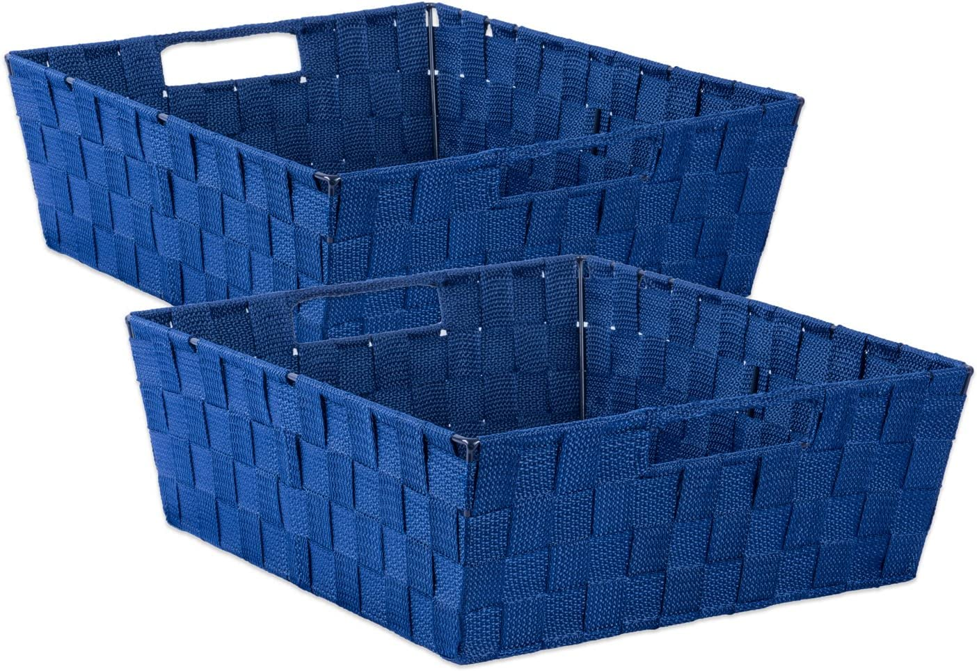 "DII Durable Trapezoid Woven Nylon Storage Bin or Basket for Organizing Your Home, Office, or Closets (Tray - 13x15x5"") Navy - Set of 2"