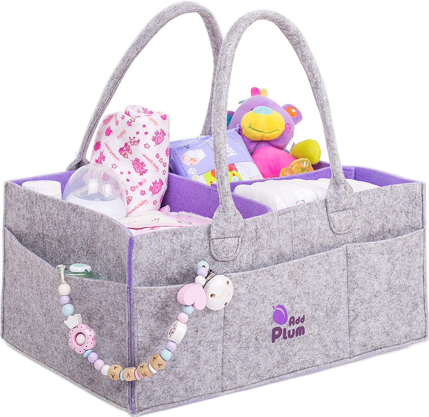 Portable Large Gray Felt Diaper Caddy Tote for Changing Table Baby Diaper Caddy Organizer Boy Girl Shower Gift Basket Nursery Storage Bin and Car Travel Organiser for Diapers and Baby Wipes