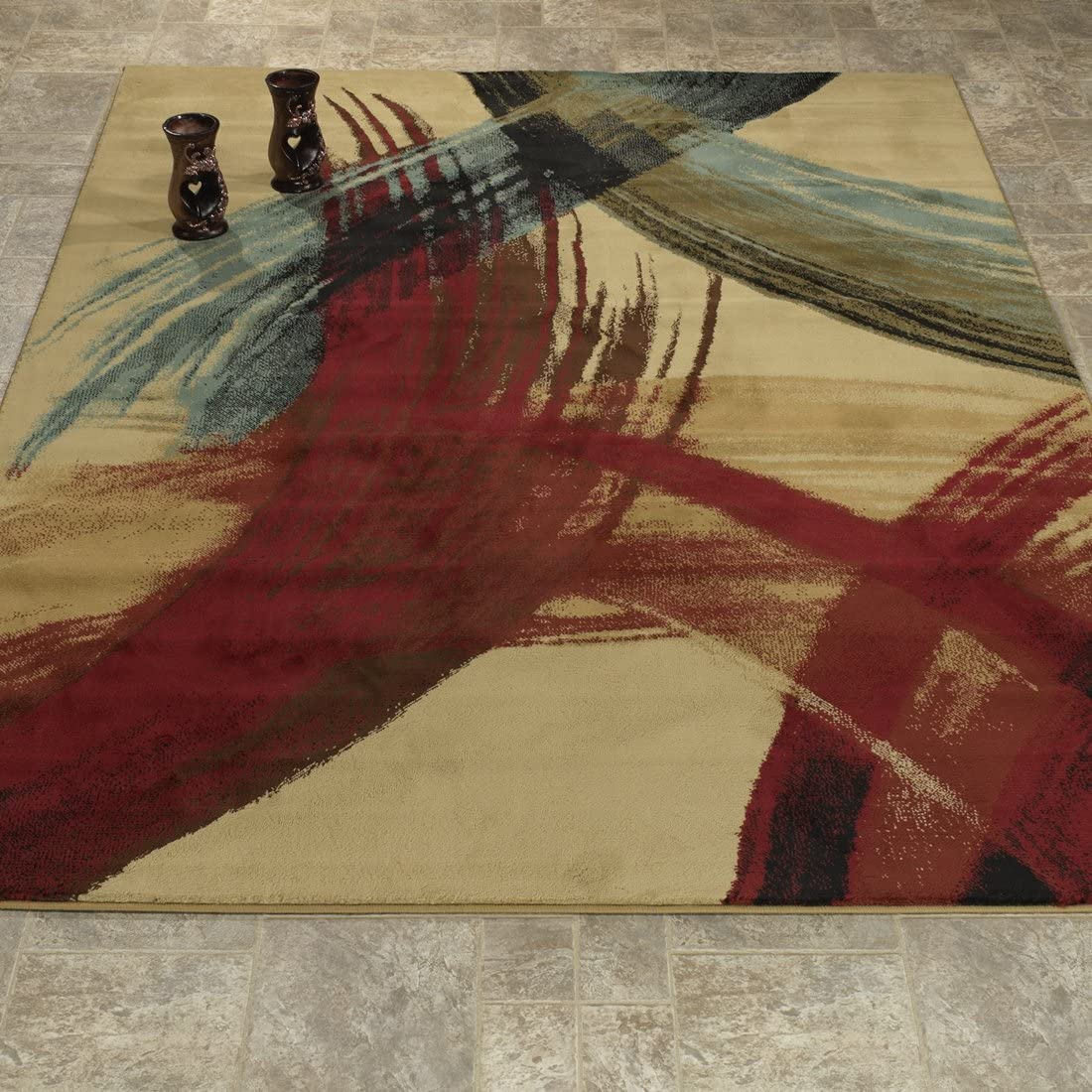 Casamode Area Rug, 5 3 x 7 3 , Beige Strokes
