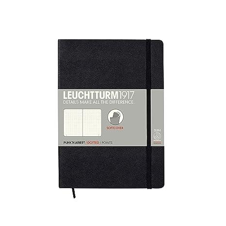LEUCHTTURM1917 324804 Libreta de notas Medium (A5) tapas blandas, 123 páginas numeradas, puntos, negro