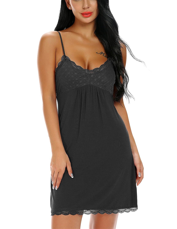 Camicia da notte da donna Monrolove Chemise Camicia da notte completa di sottoveste in pizzo sotto il vestito