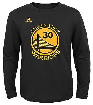 Adidas - Gorra del Equipo de Baloncesto de la NBA Juventud Stephen Curry Golden State Warriors Reproductor Nombre y número de Manga Larga Jersey Camiseta, ...