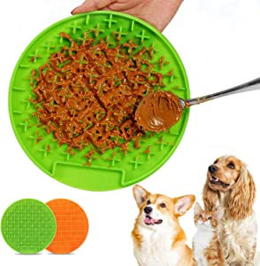 2 Pack Dog Lick Mat,Slow Feeder Cat Dog Bowls,Puzzle Feeder, Licking Mat Puzzle Food Dish,Snuffle Mat for Dogs,Interactive Dog Toys and Feeders Suit for Dogs and Cats(Green and Orange)